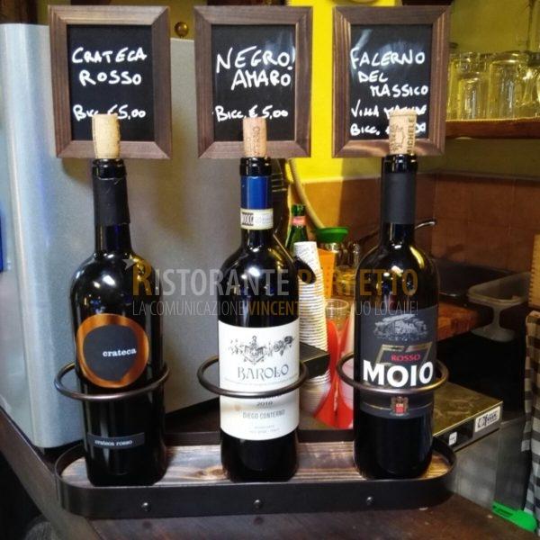 Porta bottiglie con lavagna per 3 bottiglie ristorante perfetto - Porta bottiglie ...