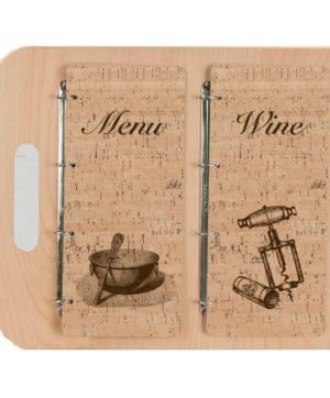 Portamenu WOOD in legno e sughero classico