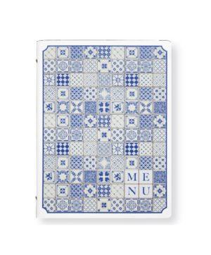 Portamenu Maiolicato Blu A4